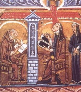 Hildegard reading and writing